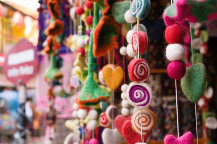 selective focus photography of assorted color hanging decor lot